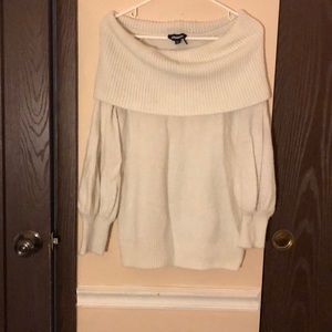 Poof sleeve off the shoulder cream express sweater